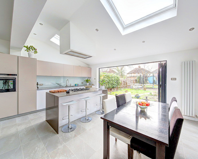 l shaped kitchen extension